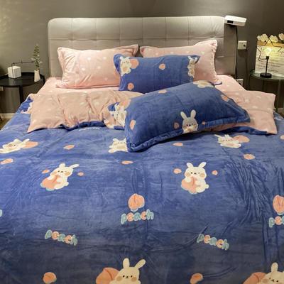 2021新款秋冬小清新210g印花牛奶绒系列四件套 1.8m床单款四件套 桃桃兔